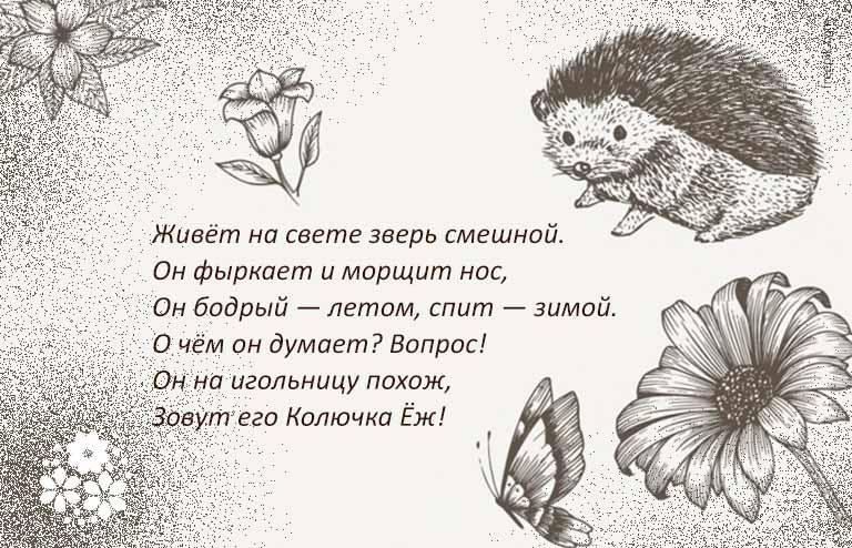 стих про ежика для детей